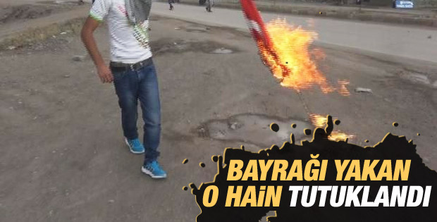 Ağrı'da Türk bayrağı yakanlardan biri tutuklandı