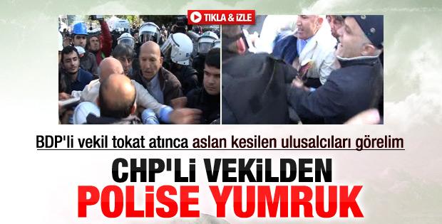 CHP'li vekil Mahmut Tanal'dan polise yumruk İZLE