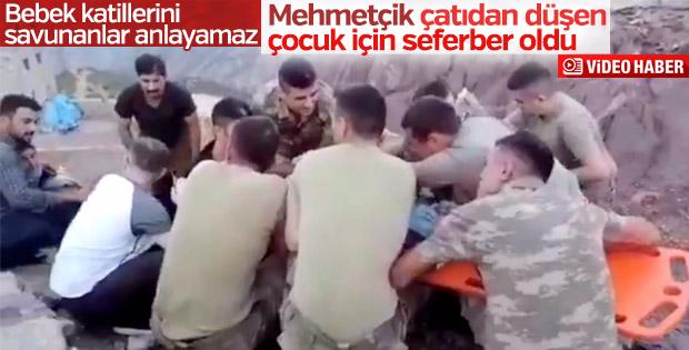 Çatıdan düşen çocuğa ilk müdahale askerlerden
