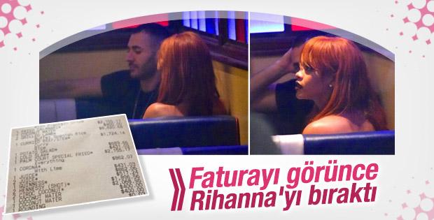 Benzema Rihanna ile yediği yemeğe 90 bin TL ödedi