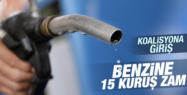 Benzine 15 kuruşluk zam