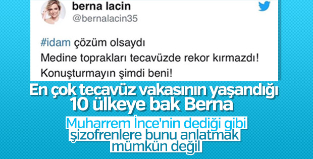 Berna Laçin tecavüzcülere istenen idama karşı