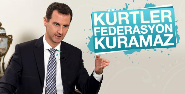 Beşar Esad: Suriye Kürtlerin federasyonu için fazla küçük