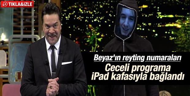 Mustafa Ceceli Beyaz Show'a iPad'den katıldı