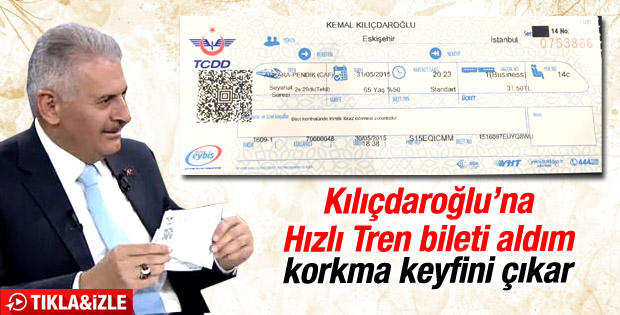 Binali Yıldırım: Kılıçdaroğlu'na hızlı tren bileti aldım