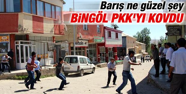 Bingöl'de esnaf PKK'lıları kovaladı