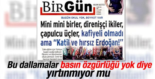 BirGün gazetesinden aşağılık manşet