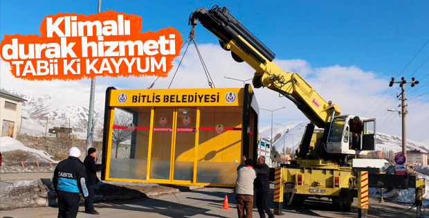 Bitlis Belediyesi'nden klimalı otobüs durağı