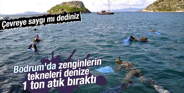 Bodrum'da deniz dibinden 1 ton atık çıkarıldı