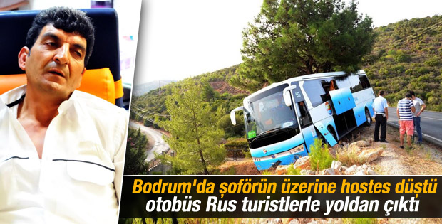 Bodrum'da otobüs kazası: Hostes şoförün üzerine düştü İZLE