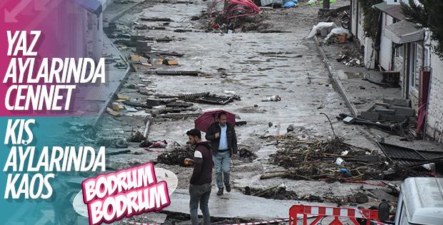 Sel sonrası Bodrum sokakları