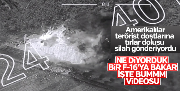 Afrin'de teröristlerin silah deposu bombalandı
