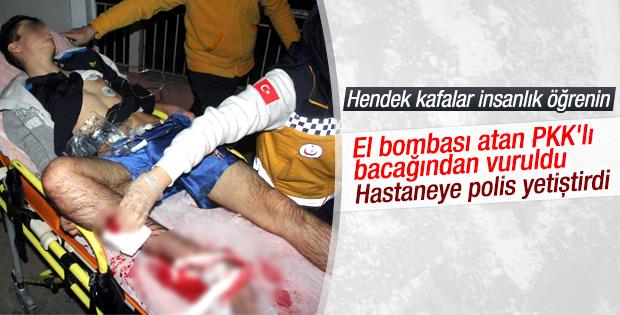 Adana'da bombacı teröristi polis kurtardı