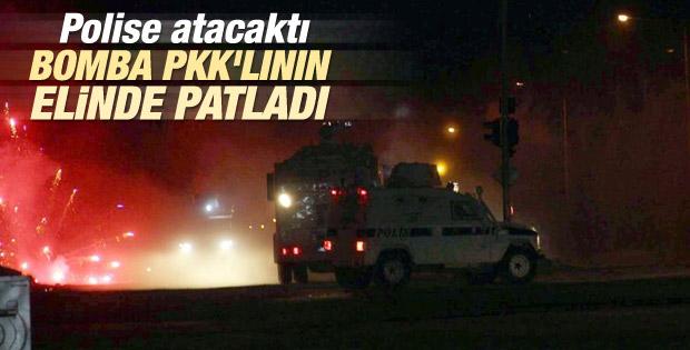 Diyarbakır'da göstericinin elinde bomba patladı