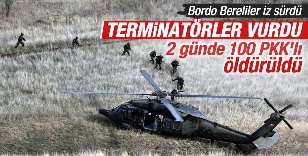 Bordo bereliler Kuzey Irak'a girdi: 100 PKK'lı öldürüldü