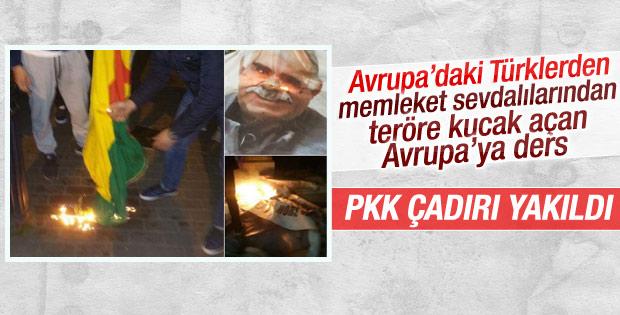 Belçika'da PKK çadırı yakıldı