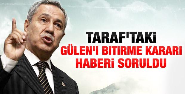 Bülent Arınç'tan Taraf'ın iddialarına açıklama geldi - izle