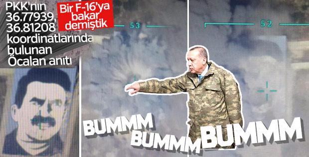 F-16'lar YPG'nin Öcalan anıtını bombaladı