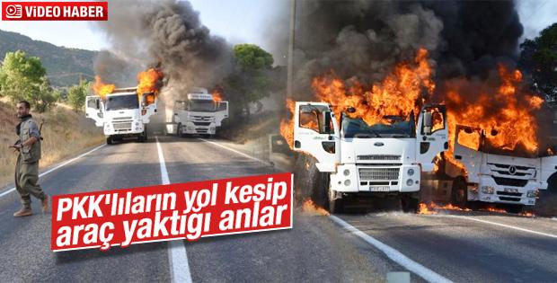 PKK'lı teröristlerin araçları yakma anı kamerada