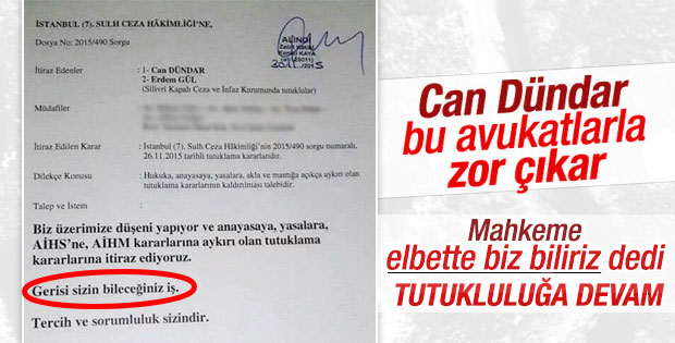 Can Dündar'ın tutukluluğuna itiraz reddedildi