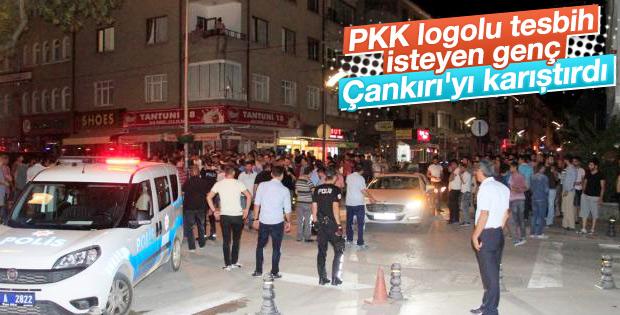 Çankırı'da PKK logolu tesbih gerginliği