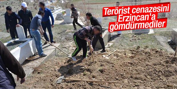 Teröristin cenazesi Erzincan'a sokulmadı