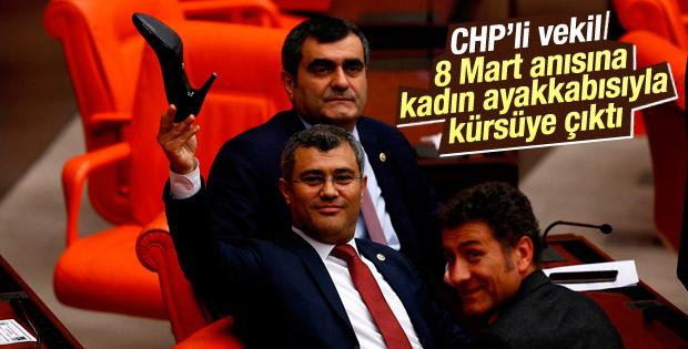 CHP'li vekil kürsüye kadın ayakkabısıyla çıktı