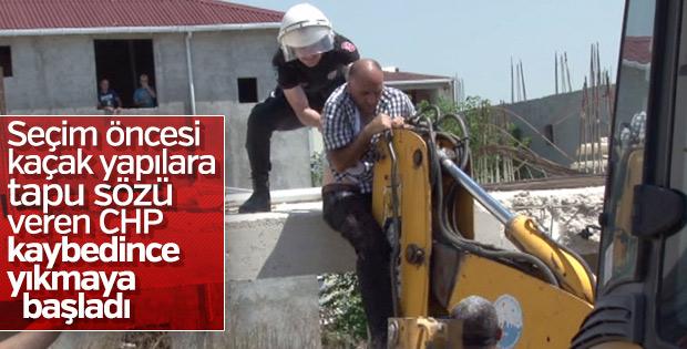 Kaçak yapıların yıkımı sırasında gerginlik