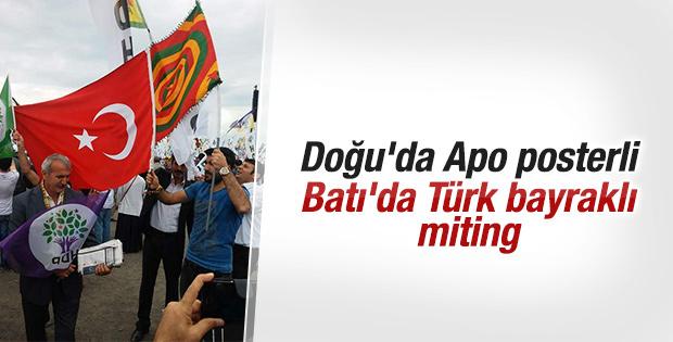 HDP'nin İstanbul mitinginde Türk bayrakları