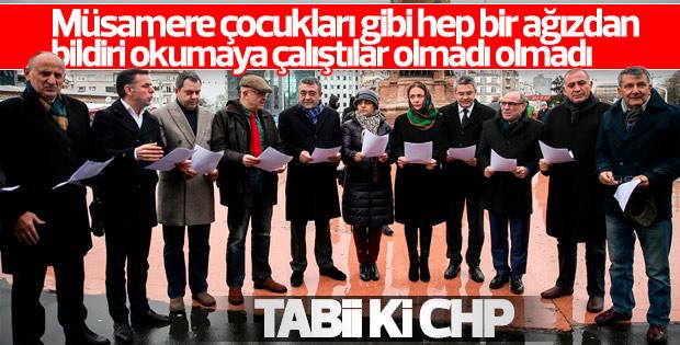 Eş zamanlı protestoda senkronize olamayan CHP'liler