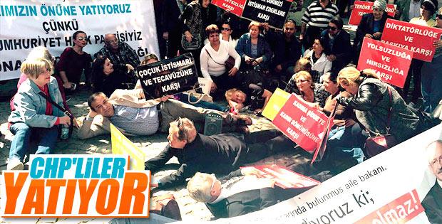 İzmir'de CHP'liler halkın önüne yatıyoruz deyip yattı