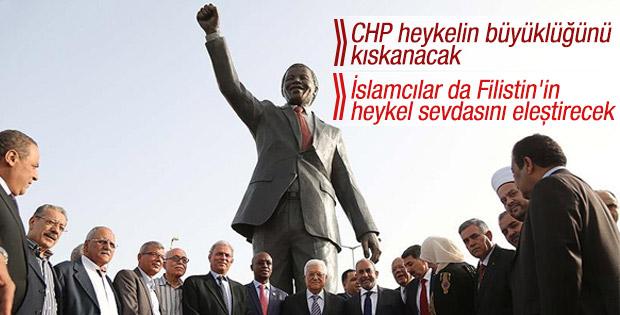 Filistin'de en büyük Mandela heykeli açıldı