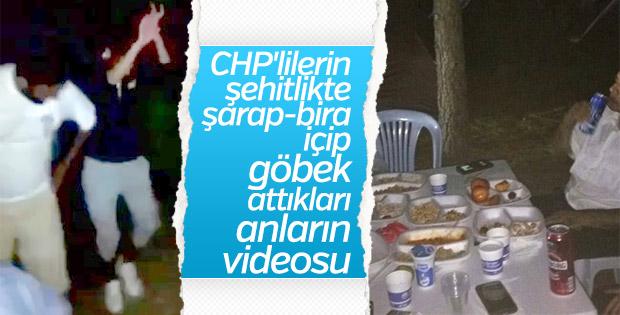 CHP'liler şehitlikte şarap içti göbek attı