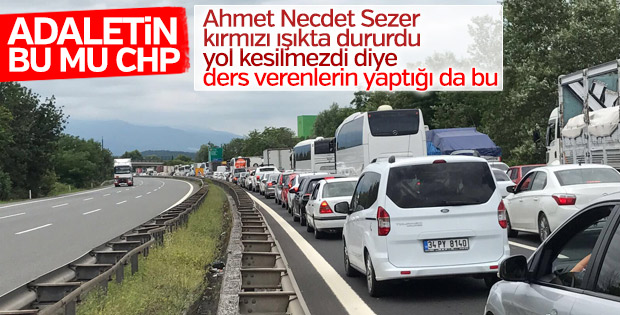 CHP'nin adalet yürüyüşü trafiği kitledi