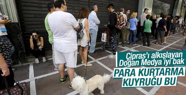 Çipras referandum dedi Yunanlar ATM'ye koştu