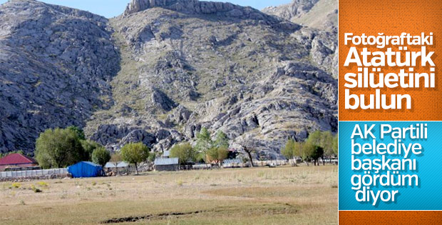 Dağın yamacında Atatürk silüeti