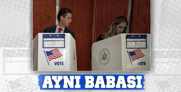 Trump'ın oğlu da oy kullanırken eşine baktı