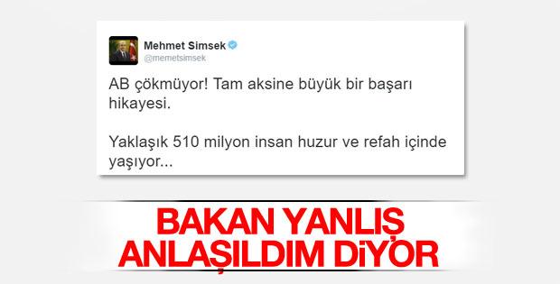 Mehmet Şimşek'in AB tweet'i yanlış anlaşıldı