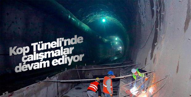 Kop Tüneli'nde çalışmalar devam ediyor