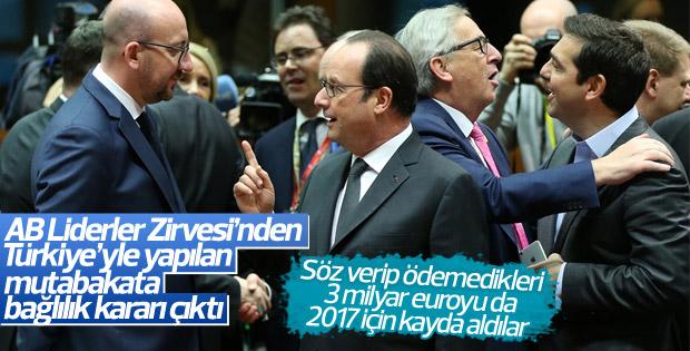 AB: Türkiye ile yapılan mutabakata sadık kalınacak