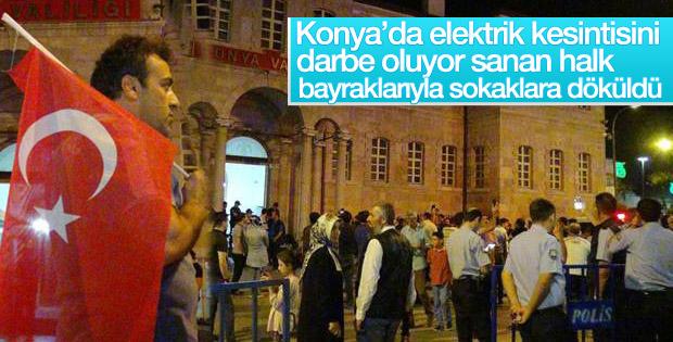 Konya'da elektrikler kesilince darbe oluyor sandılar
