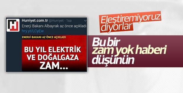 Hürriyet'in elektrik ve doğalgaza zam yok haberi