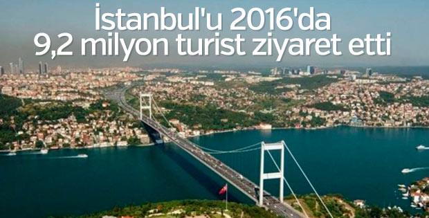 İstanbul'u 2016'da 9,2 milyon turist ziyaret etti