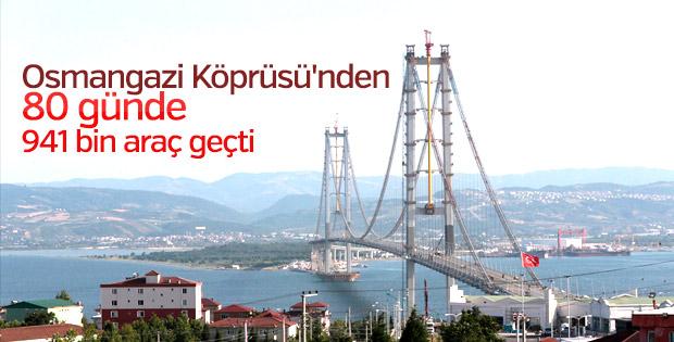 Osmangazi Köprüsü'nden 80 günde 941 bin araç geçti
