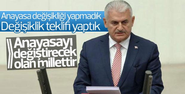 Başbakan Yıldırım'dan Meclis'te teşekkür konuşması