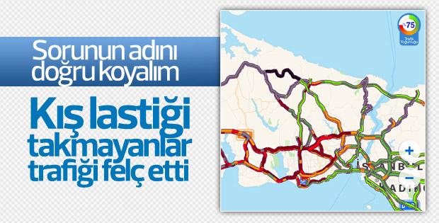 Karla birlikte İstanbul'da trafik felç oldu