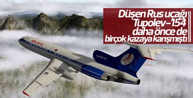 Düşen Rus uçağı Tupolev-154'ün kabarık dosyası