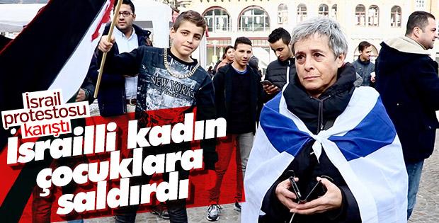 İsrailli kadın Hollanda'daki İsrail protestosunu bastı