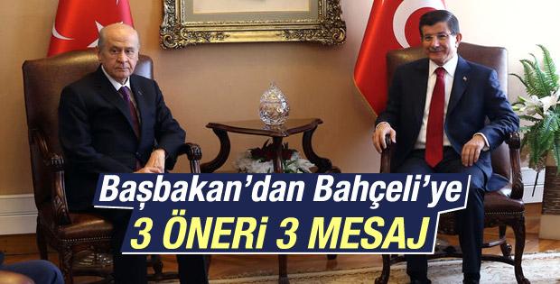Başbakan Davutoğlu'ndan Bahçeli'ye 3 teklif