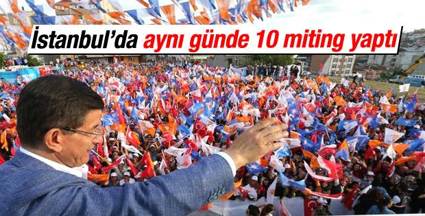 Başbakan Davutoğlu İstanbul'da 10 ilçede konuştu